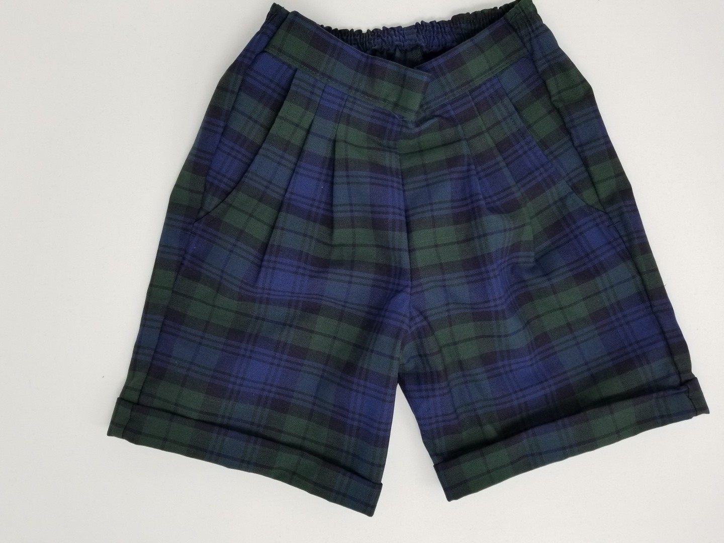 Girls Plaid Shorts- Cuffed hem-Plaid 14