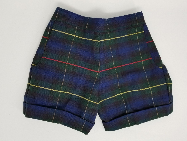 Girls Plaid Shorts- Cuffed hem-Plaid 71