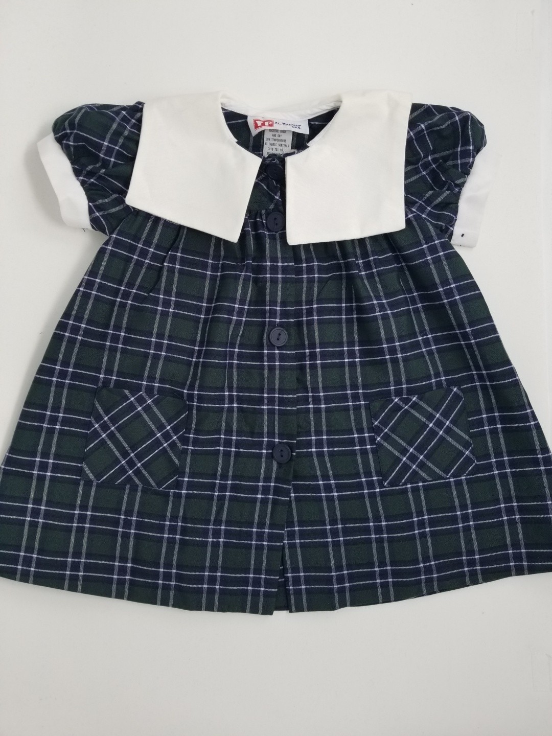Plaid Smock Dress with Sailor Collar