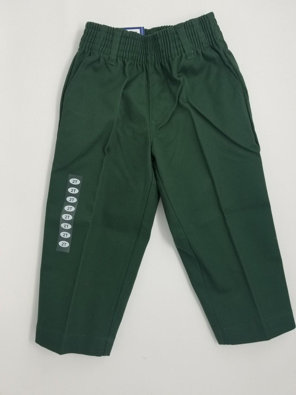 Boys Pleated Pants-Hunter Green
