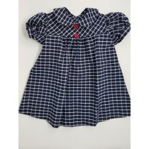 Plaid Smock Dress with Buttons in Back