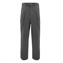 Boys Pleated Pants-Charcoal Grey
