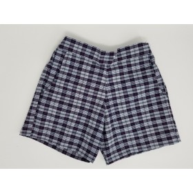 Girls Plaid Short- Uncuffed-Plaid 36