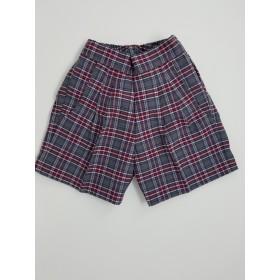Girls Plaid Shorts- Uncuffed-Plaid 84