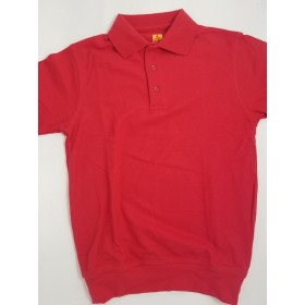 "Banded Bottom ""No Tuck"" Knit Shirt - Pique - Short Sleeve-Red"