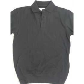 "Banded Bottom ""No Tuck"" Knit Shirt - Pique - Short Sleeve-Black"