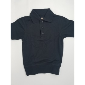 "Banded Bottom ""No Tuck"" Knit Shirt - Pique - Short Sleeve-Navy"
