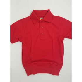 """Banded Bottom """"No Tuck"""" Knit Shirt- Smooth/Jersey- Short Sleeve-Red"""