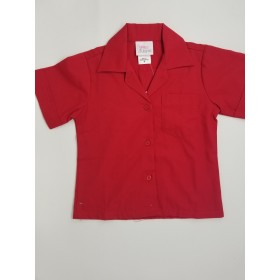 Sport Collar Blouse-Red