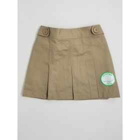 Box Pleat Skort-Khaki