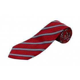 Boys 4-in-hand Necktie-Red/Black/Silver Stripes