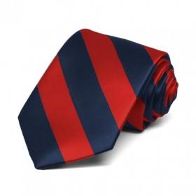 Boys Clip-on Necktie-Red/Navy Stripes