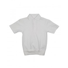 "Banded Bottom ""No Tuck"" Knit Shirt- Smooth/Jersey- Short Sleeve-White"