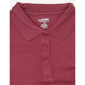 Girl Fancy Collar Knit Shirt- Short Sleeve-Maroon
