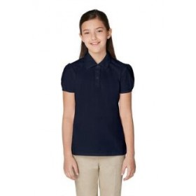Girl Fancy Collar Knit Shirt- Short Sleeve-Navy