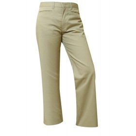 "Girls ""Slash Pocket"" Pants- Solid Color- Flat Front-Khaki"