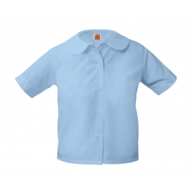 Peter Pan Blouse- Short Sleeve-Light Blue