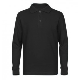 Pique Polo- Long Sleeve-Black