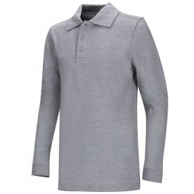 Pique Polo- Long Sleeve-Grey
