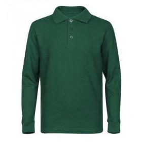 Pique Polo- Long Sleeve-Hunter Green