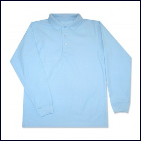 Pique Polo- Long Sleeve-Light Blue