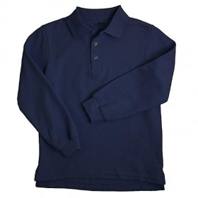 Pique Polo- Long Sleeve-Navy