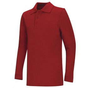 Pique Polo- Long Sleeve-Red