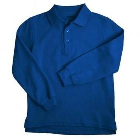 Pique Polo- Long Sleeve-Royal Blue