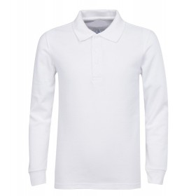 Pique Polo- Long Sleeve-White