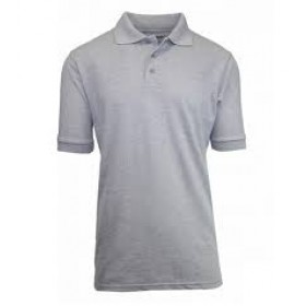 Pique Polo - Banded Sleeve - Short Sleeve-Grey