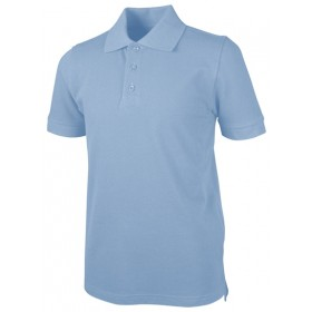 Pique Polo - Banded Sleeve - Short Sleeve-Light Blue