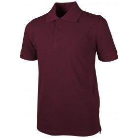 Pique Polo - Banded Sleeve - Short Sleeve-Maroon