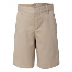 Boys Flat Front Shorts-Khaki