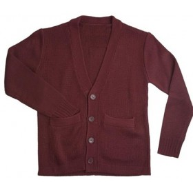 Cardigan Sweater with Pockets-Maroon