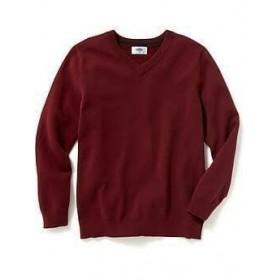 V-Neck Pullover Sweater-Maroon