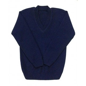 V-Neck Pullover Sweater-Navy
