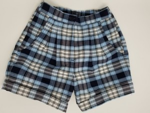 Girls Plaid Shorts- Cuffed hem