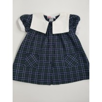 Plaid Smock Dress with Sailor Collar