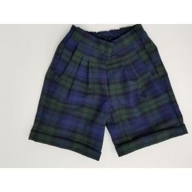 Girls Plaid Shorts- Cuffed hem-Plaid 14