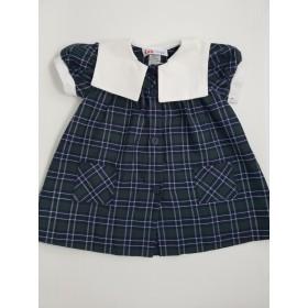 Plaid Smock Dress with Sailor Collar-Plaid 3