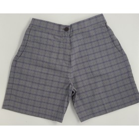 Girls Plaid Shorts- Uncuffed-Plaid 96