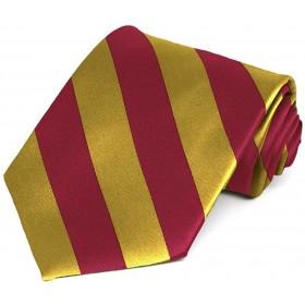 Boys 4-in-hand Necktie-Red/Gold Stripes