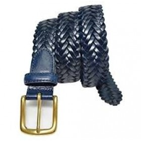 Braided Leather Belt-Navy