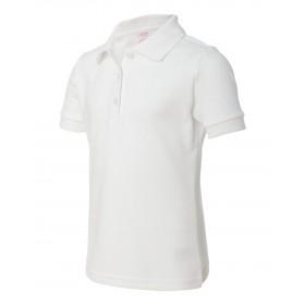 Girl Fancy Collar Knit Shirt- Short Sleeve-White