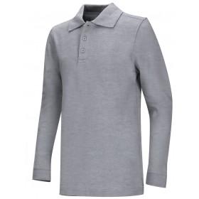 Pique Polo- Long Sleeve-Grey