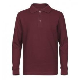 Best Value Pique Knit Shirt- Long Sleeve-Maroon