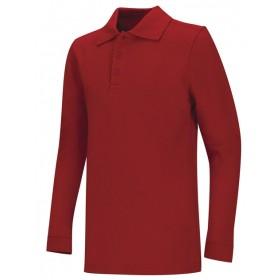 Pique Polo- Long Sleeve-Red