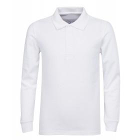 Pique Polo- Long Sleeve-White