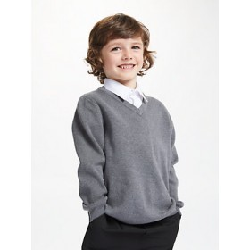 V-Neck Pullover Sweater-Grey