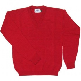 V-Neck Pullover Sweater-Red